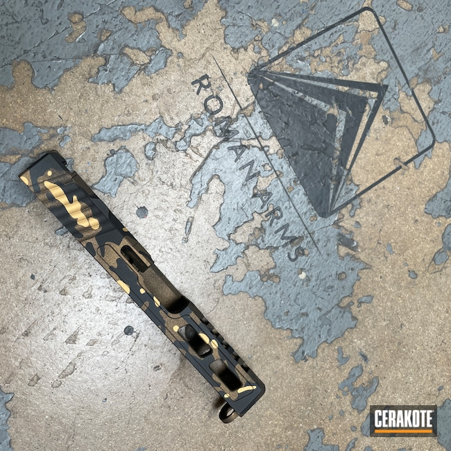 Cerakoted: S.H.O.T,Glock 19,Sniper Grey H-234,RMR Cut,MultiCam,Graphite Black H-146,Burnt Bronze H-148,Camo,Machined Slide,Custom Glock Slide,Slide,Gold H-122