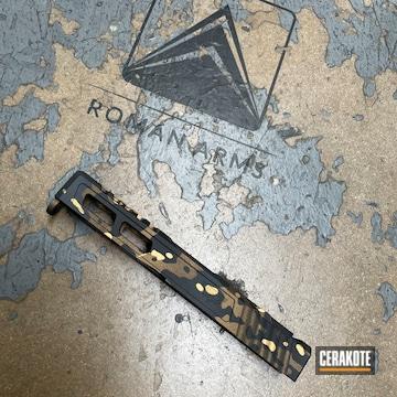 Custom Camo Glock Slide Cerakoted Using Sniper Grey, Graphite Black And Burnt Bronze