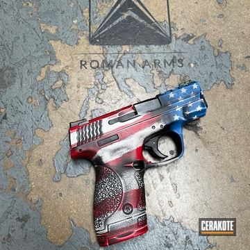 Battleworn American Flag Themed Smith & Wesson M&p Shield Pistol Cerakoted Using Usmc Red, Bright White And Nra Blue