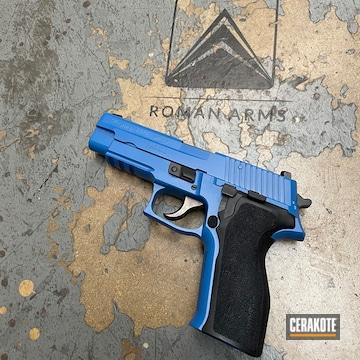 Sig Sauer P226 Pistol Cerakoted Using Nra Blue And Graphite Black