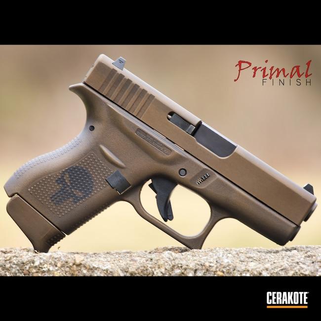 Cerakoted: S.H.O.T,Punisher,Glock 42,Battleworn,Distressed,Distressed Glock,Burnt Bronze H-148,Armor Black H-190,Glock,G42,Glock 43