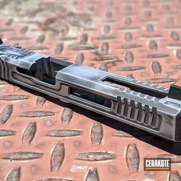 Distressed Glock 19 Slide Cerakoted Using Satin Aluminum And Graphite Black