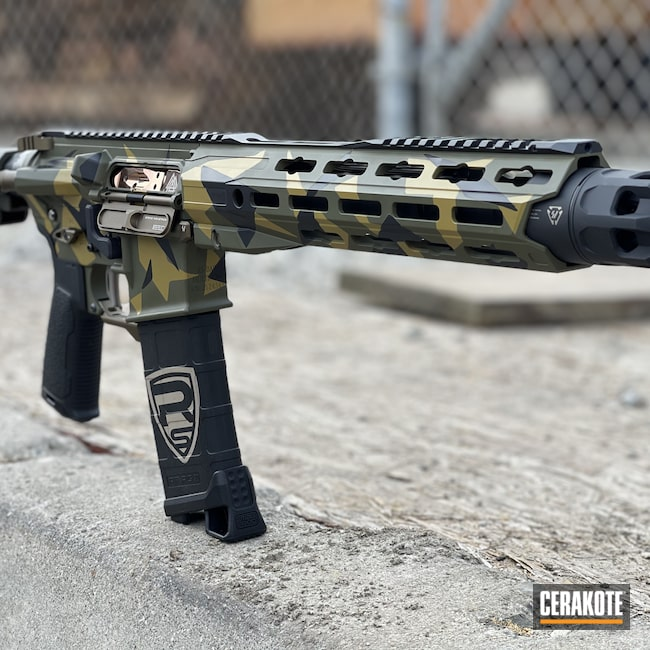 Cerakoted: S.H.O.T,AR Pistol,Sniper Green H-229,Graphite Black H-146,Ral 8000 H-8000,Splinter Camo,.223,AR Build