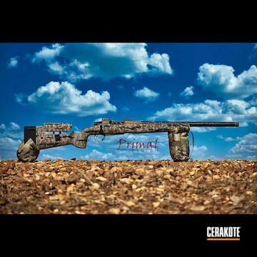 Custom Camo Bolt Action Rifle Cerakoted Using Desert Sand, Graphite Black And Flat Dark Earth