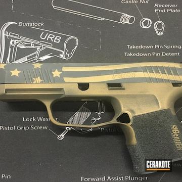 American Flag Themed Sig Sauer P365 Pistol Cerakoted Using Midnight Bronze And Graphite Black