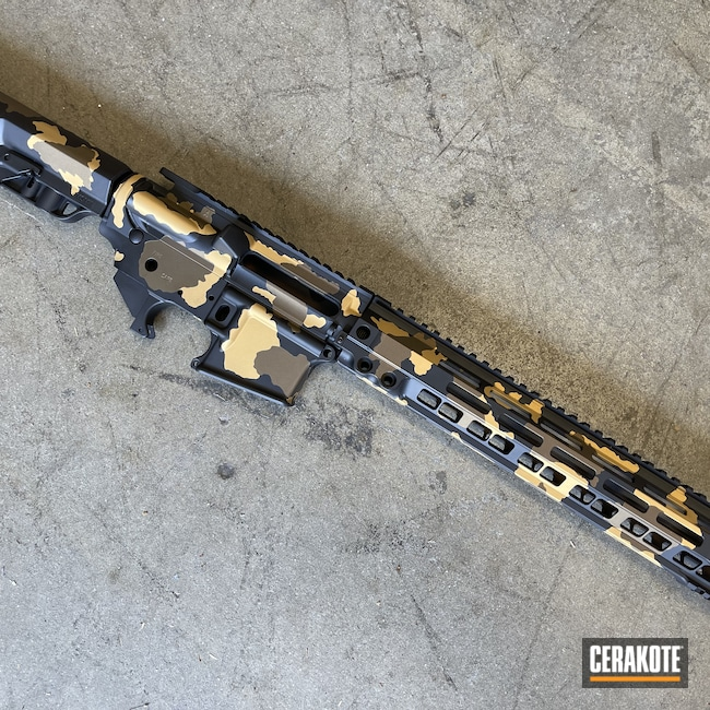 Cerakoted: S.H.O.T,Burnt Bronze H-148,Armor Black H-190,.223,AR Build,Gold H-122,AR-15