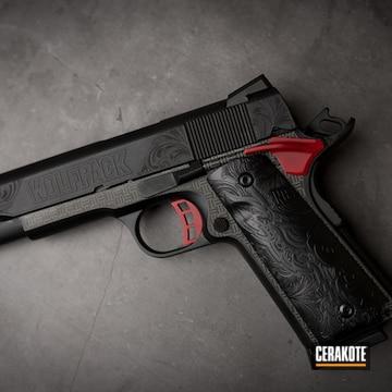 1911 Pistol Cerakoted Using Crimson And Armor Black