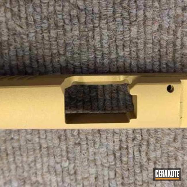 Cerakoted: S.H.O.T,p365,Pistol,Sig Sauer,Firearms,Pistol Slide,Gold H-122