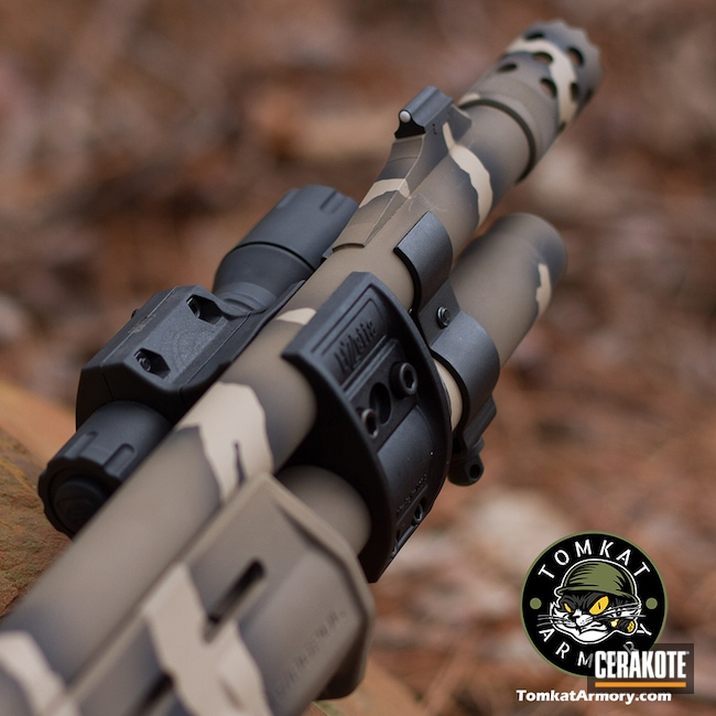 Cerakoted: S.H.O.T,Pump Shotgun,Shotgun,Riptile Camo,Graphite Black H-146,Desert Sand H-199,12 Gauge,Remington 870,Flat Dark Earth H-265