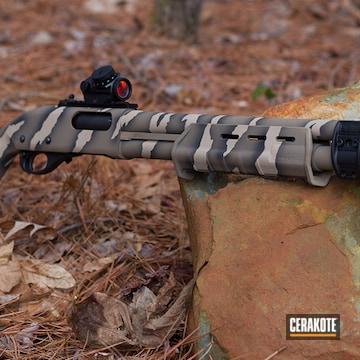 Reptile Camo Themed Remington 870 Shotgun Cerakoted Using Desert Sand, Graphite Black And Flat Dark Earth