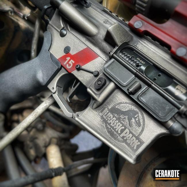 Cerakoted: S.H.O.T,Rifle,450 Bushmaster,Anderson,Crimson H-221,Titanium H-170,Armor Black H-190,Jurassic Park,AR-15