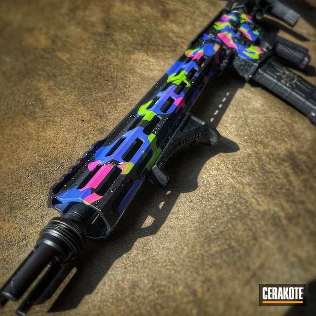 Cerakoted: S.H.O.T,Rifle,Periwinkle H-357,Precision Tactical,Neon,Zombie Green H-168,Camo,Prison Pink H-141,AR-15