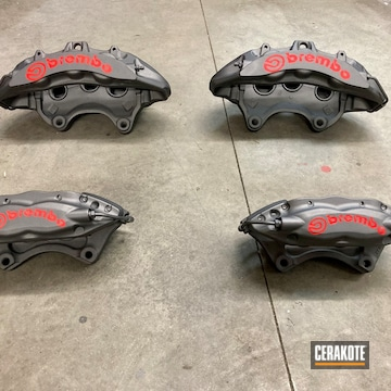 Brembo Calipers Cerakoted Using Tungsten And Stoplight Red