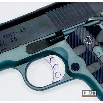 1911 Pistol Cerakoted Using Charcoal Green And Graphite Black