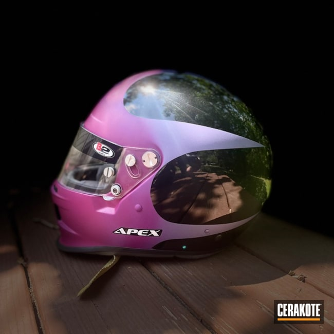 Motorcycle Helmet Cerakoted Using Sangria And Crushed Orchid