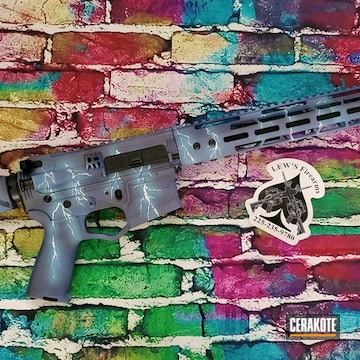 Lightning Themed Ar Cerakoted Using Blue Raspberry, Bright White And Northern Lights