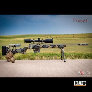 Vias Camo Bolt Action Rifle Cerakoted Using Desert Sage, Patriot Brown And Bull Shark Grey
