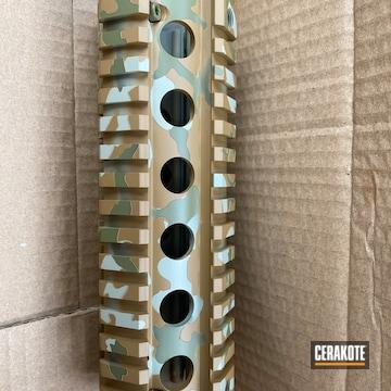 Custom Camo Ar Handguard Cerakoted Using Noveske Tiger Eye Brown, Noveske Bazooka Green And Desert Verde