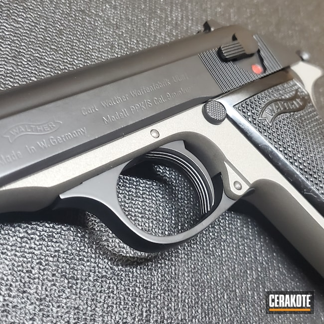 Cerakoted: S.H.O.T,Walther,BLACKOUT E-100,.380,PPK,Titanium H-170,Pistol,Before and After