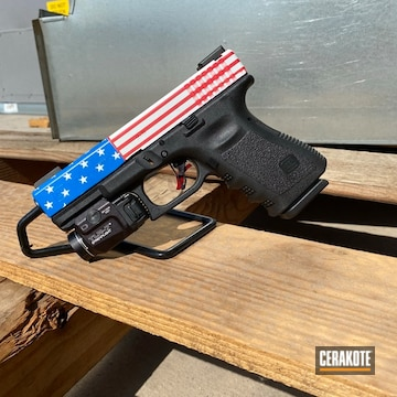 American Themed Glock 19 Cerakoted Using Usmc Red, Bright White And Nra Blue