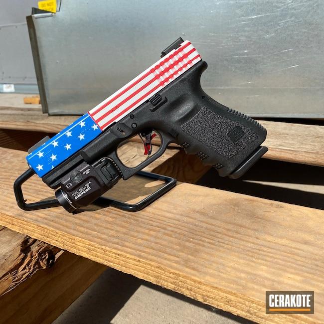 Cerakoted: Bright White H-140,S.H.O.T,Glock 19,9mm,NRA Blue H-171,USMC Red H-167,Glock,American Flag