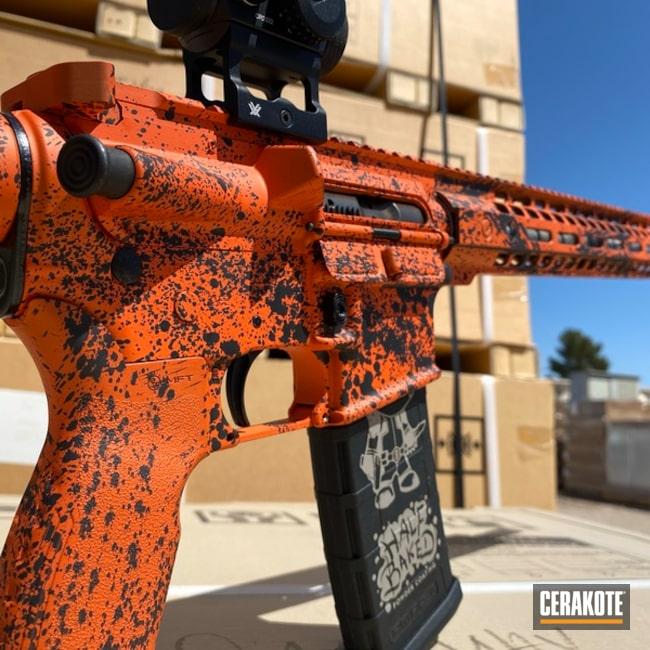 Orange Paint Splatter Themed Ar Cerakoted Using Graphite Black And Blood Orange