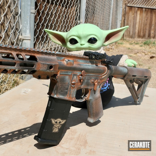 Cerakoted: S.H.O.T,Baby Yoda,COPPER H-347,Robin's Egg Blue H-175,Graphite Black H-146,AR,Star Wars