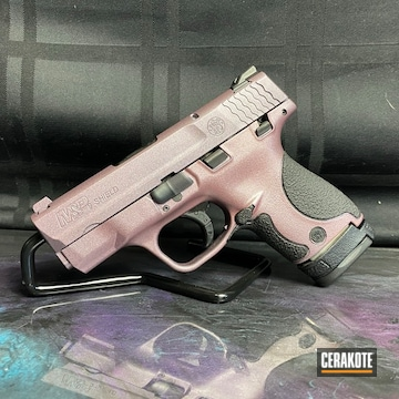 Smith & Wesson M&p Shield Cerakoted Using Graphite Black And Pink Champagne