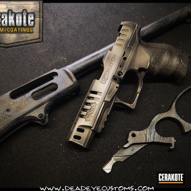 Cerakoted: S.H.O.T,Custom Theme,Woodgrain,Damascus Steel,.45-70,Graphite Black H-146,Burnt Bronze H-148,Satin Aluminum H-151,Theme,Light Sand H-142