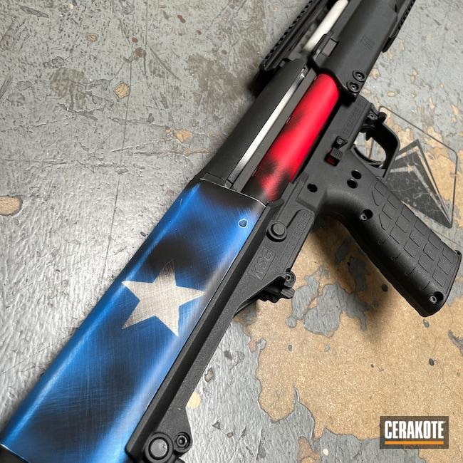 Cerakoted: S.H.O.T,Bright White H-140,NRA Blue H-171,Shotgun,Texas Cerakote,USMC Red H-167,KelTec,Keltec KSG,Pump-action Shotgun,KSG,Texas Flag,Distressed Texas Flag