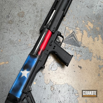 Distressed Texas Flag Themed Pump-action Shotgun Cerakoted Using Usmc Red, Bright White And Nra Blue