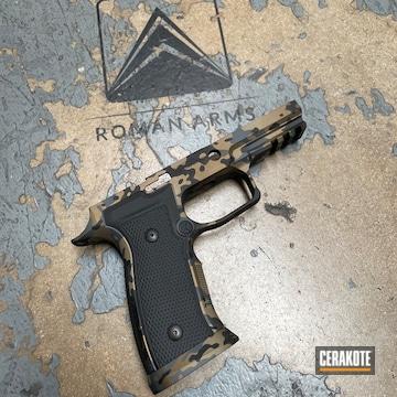 Gold Multicam Sig Sauer P320 Pistol Cerakoted Using Armor Black, Sniper Grey And Graphite Black
