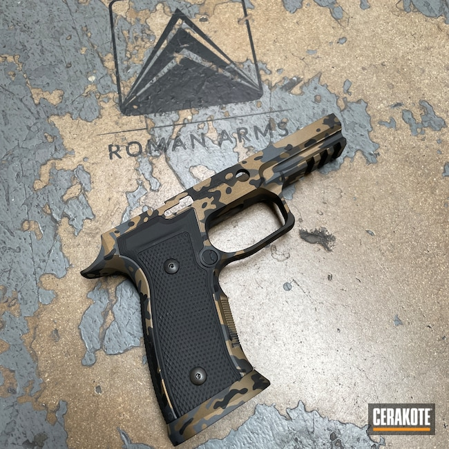 Cerakoted: S.H.O.T,Armor Black H-190,Pistol,Sig Sauer,Sig,Custom Camo,Handgun,9mm,Sig Sauer P320,Sniper Grey H-234,MultiCam,Graphite Black H-146,Grip Module,Burnt Bronze H-148,Handguns
