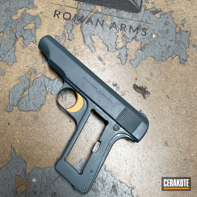 Cerakoted: S.H.O.T,Jesse James Cold War Grey H-402,Restoration,Pistol,Refinished,Deutsche Werke,Complete Restoration,HI-VIS ORANGE H-346,Handguns,Gold H-122,Handgun