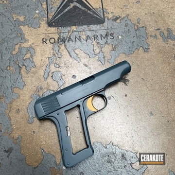Restored Pistol Using Hi-vis Orange, Jesse James Cold War Grey And Gold