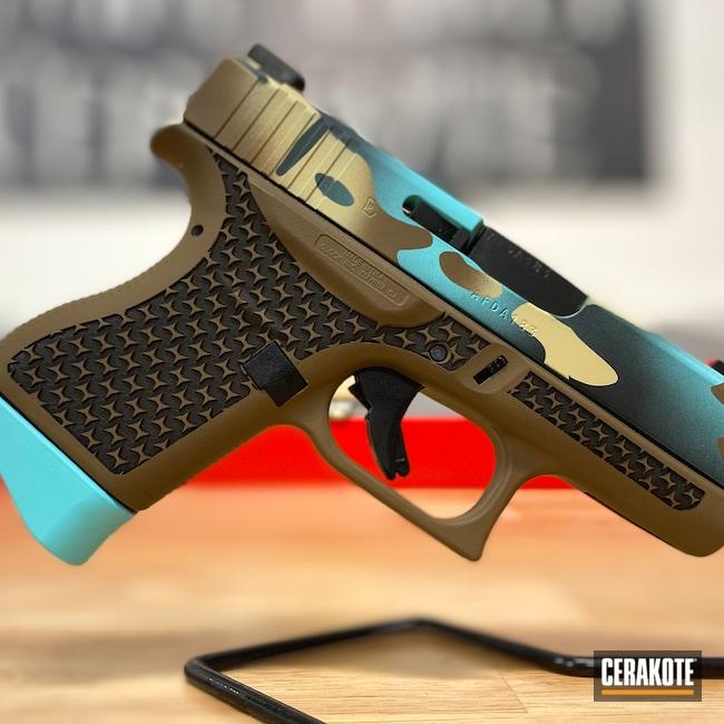 Cerakoted: S.H.O.T,9mm,Robin's Egg Blue H-175,Cerakote,Desert Sand H-199,Patriot Brown H-226,Glock 43