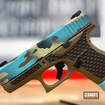 Custom Camo Glock 43 Cerakoted Using Patriot Brown, Desert Sand And Robin's Egg Blue
