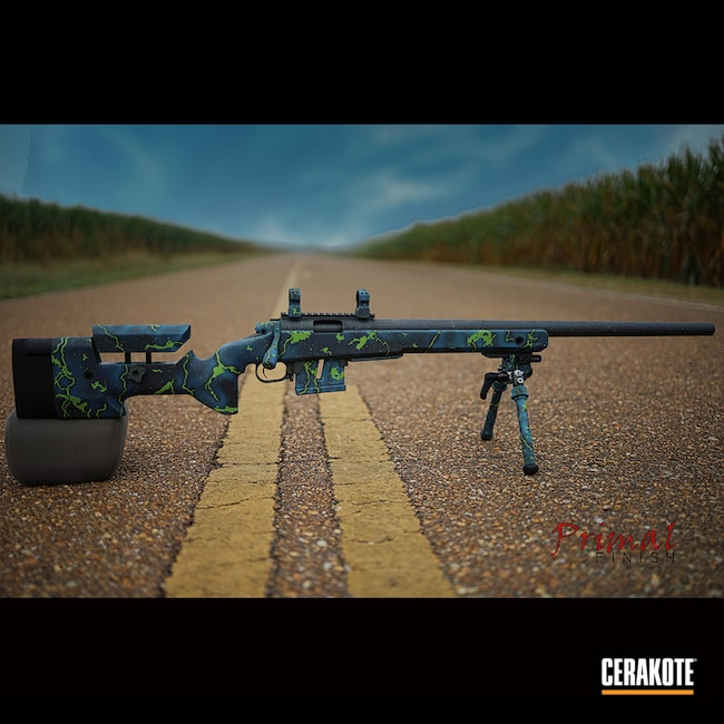 Bolt Action Rifle Cerakoted Using Gun Metal Grey, Zombie Green And Sea Blue
