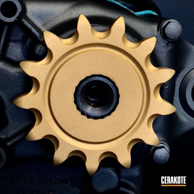 Cerakoted: S.H.O.T,Graphite Black H-146,Motocross,Dirtbike,USMC Red H-167,Burnt Bronze H-148,Tungsten V-167,Engine,Honda,Gold H-122,Motorcycle