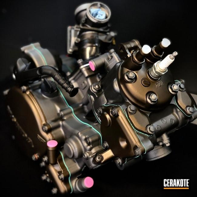 Honda Motorcycle Engine Cerakoted Using Tungsten, Usmc Red And Graphite Black