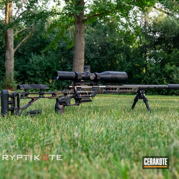 Paint Splatter Themed Bolt Action Rifle Cerakoted Using Hunter Orange, Usmc Red And Zombie Green