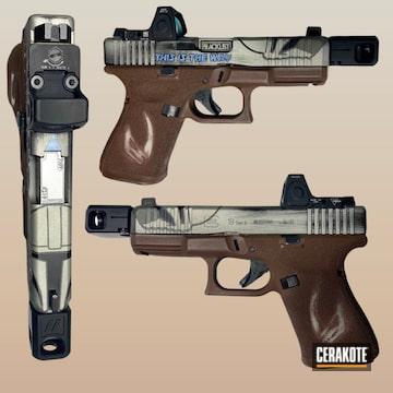 Mandalorian Themed Glock Cerakoted Using Multicam® Dark Brown, Bright Nickel And Polar Blue
