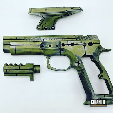 Cz Pistol Cerakoted Using Noveske Bazooka Green, Armor Black And Crushed Silver