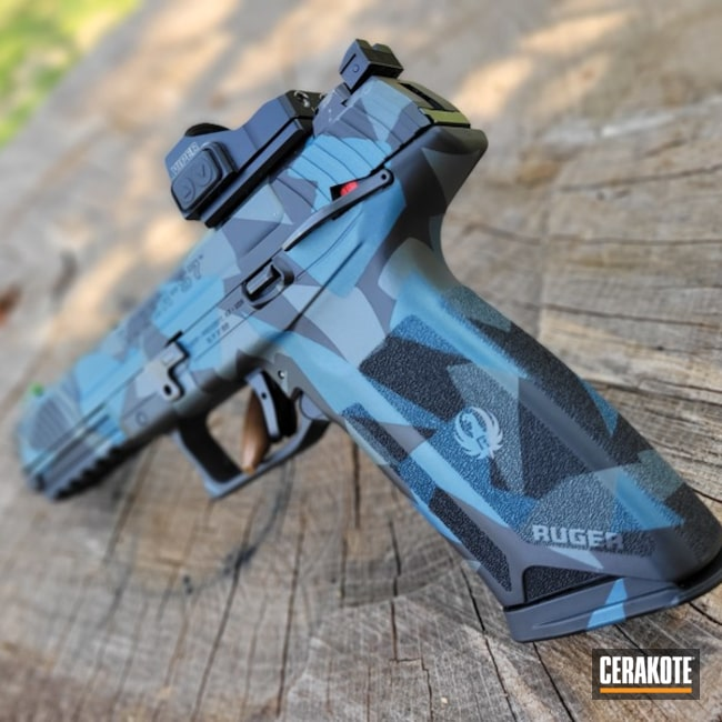 Kryptek Camo Ruger Pistol Cerakoted Using Platinum Grey, Graphite Black And Blue Titanium