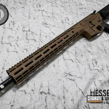 Wood Grain Themed Ar Cerakoted Using Barrett® Brown And Federal Brown