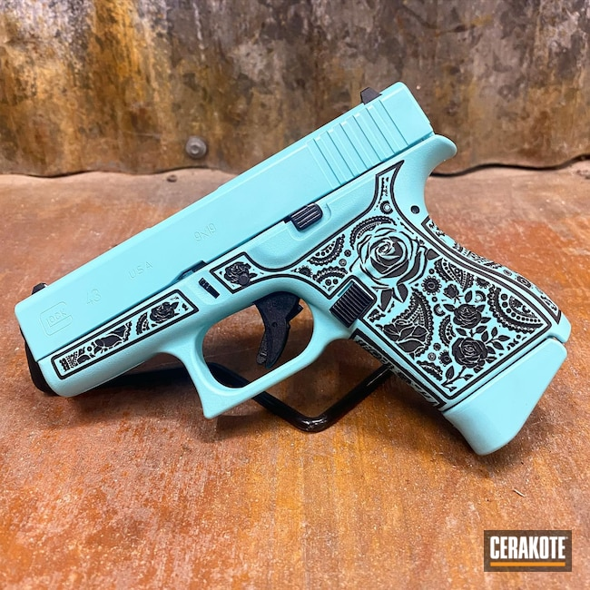 Cerakoted: S.H.O.T,Robin's Egg Blue H-175,Tiffany Blue,Glock,Glock 43