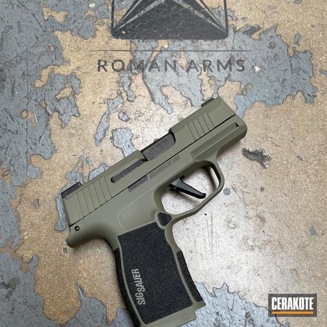 Cerakoted: S.H.O.T,Sig P365,Sig Sauer P365,EDC Pistol,Pistol,Sig Sauer,Sig,Subcompact,Handgun,9mm,HAZEL GREEN H-204,Snow White H-136,Graphite Black H-146,Handguns,Sig Sauer P365XL