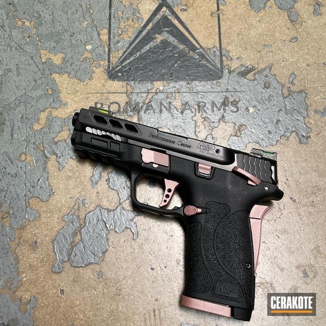 Cerakoted: S.H.O.T,Smith & Wesson M&P Shield EZ,Gift,Smith & Wesson M&P,Pistol,Smith & Wesson M&P Shield,Girly,Handgun,380EZ,Smith & Wesson,Firearm,M&P Shield EZ,ROSE GOLD H-327,Handguns