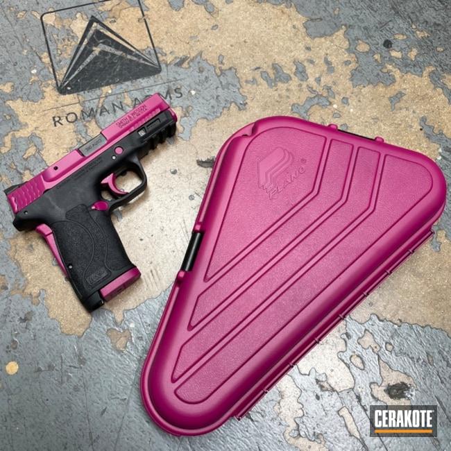 Smith & Wesson M&p Shield Pistol Cerakoted Using Sangria