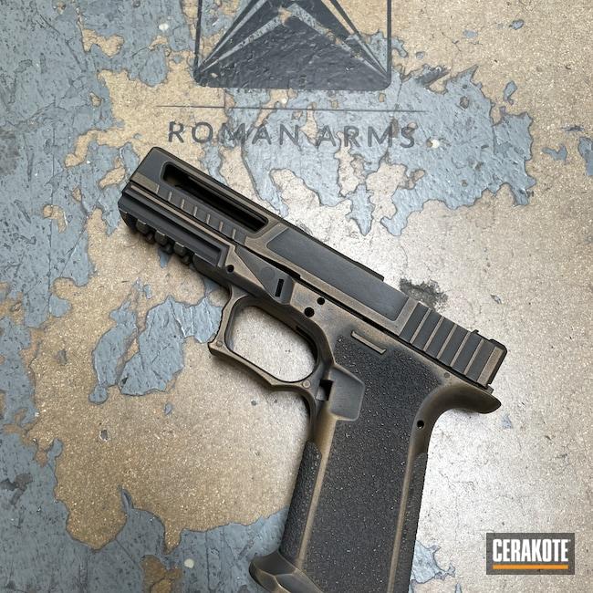 Cerakoted: Polymer80,S.H.O.T,Conceal Carry,Spartan,RMR Cut,Pistol,Milled,Slide,Spartan Worn,P80,80%,Gold H-122,Handgun,9mm,Battleworn,Graphite Black H-146,Burnt Bronze H-148,Worn,Custom Glock Slide,Handguns,Pistols